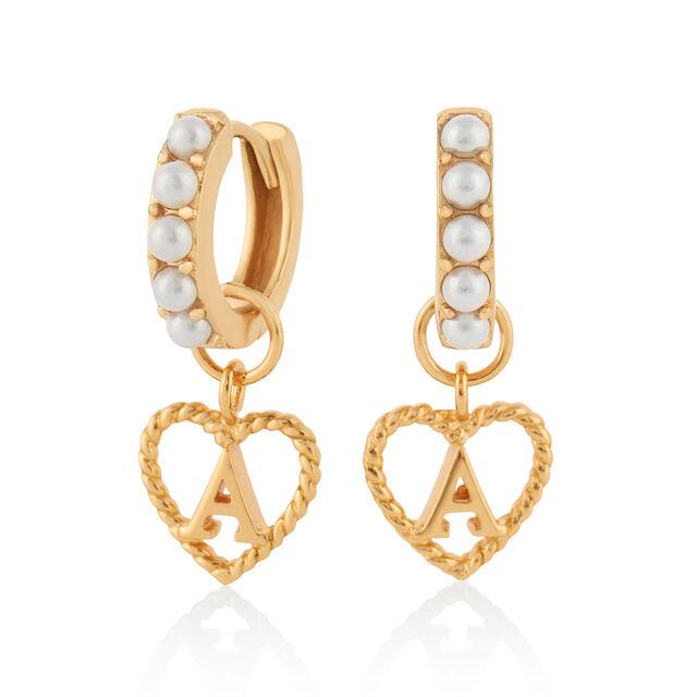 'A' Faux Pearl Heart Initial Huggie Hoop Gold