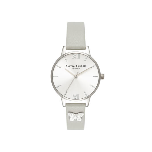 Olivia Burton Embellished Strap Grey & Silver Butterfly Watch