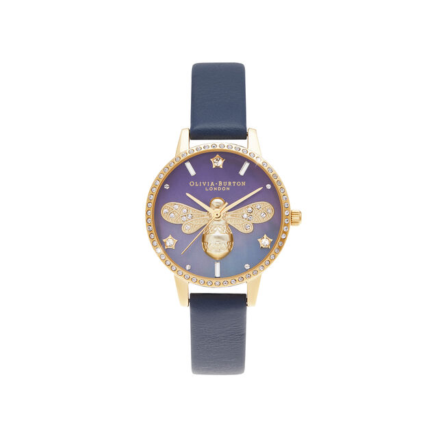 Mother Of Pearl Midi Dial Navy & Gold Watch