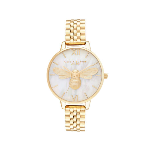 Mother Of Pearl Demi Dial Gold Bracelet Watch