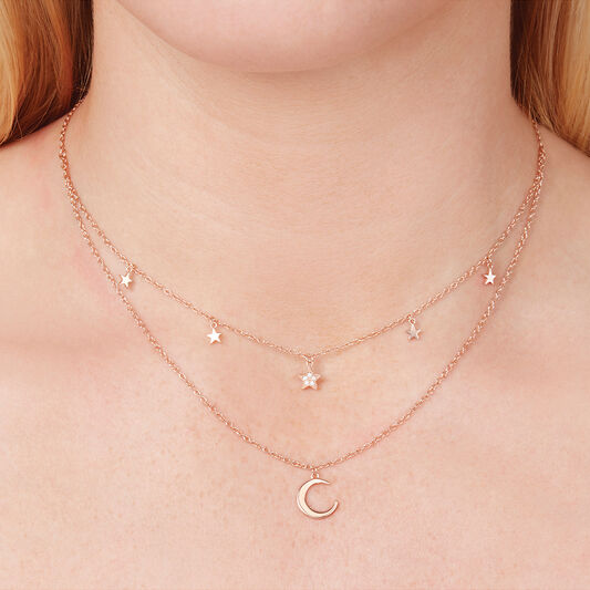 Celestial Double Crescent Moon And Star Necklace Rose Gold Olivia Burton London