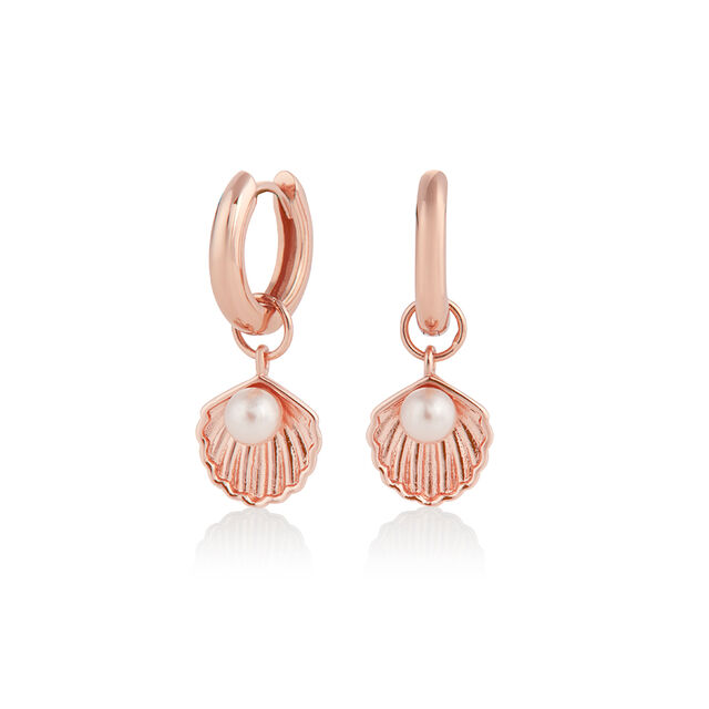 Under The Sea Shell Huggie Hoops White Pearl & Rose Gold
