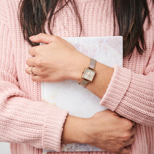 Square Dial Blush Sunray & Pale Rose Gold