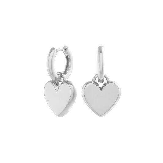 Classic Heart Silver Huggie Hoops
