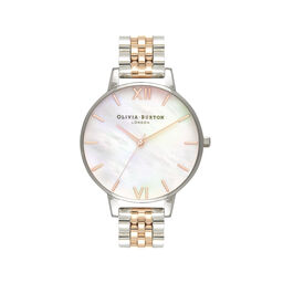 Mother of Pearl White Bracelet, Rose Gold & Silver