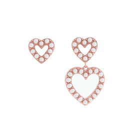 Classic Pearl Heart Mismatch Rose Gold Earrings