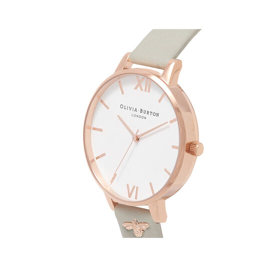 3D Bee Embellished Strap Grey & Rose Gold Watch