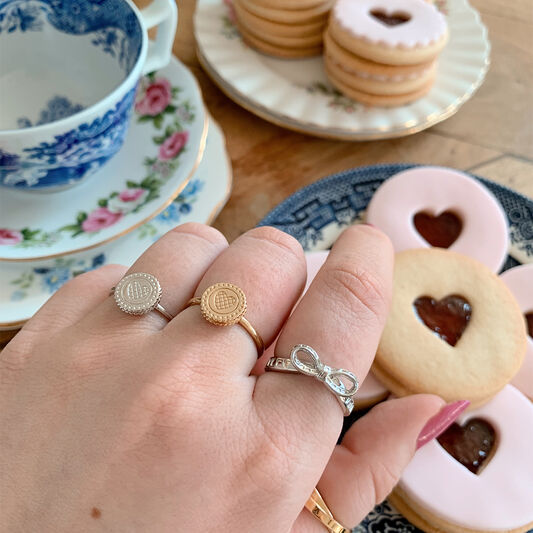 Tea Party Biscuit Silver Ring