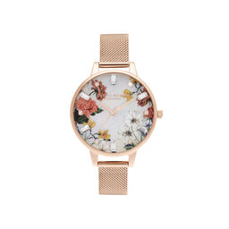 Demi Mother Of Pearl Dial Rose Gold Mesh Watch