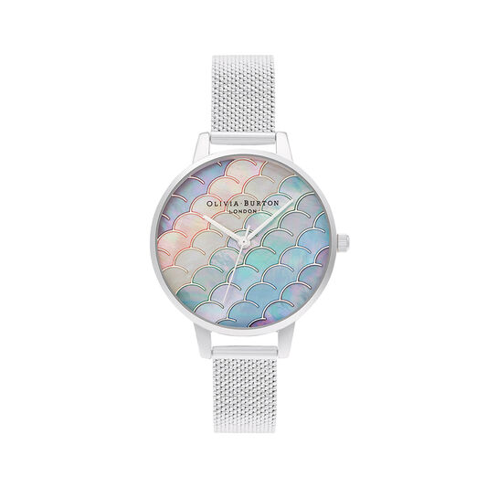 Mermaid Tail Demi Dial Silver Boucle Mesh Watch