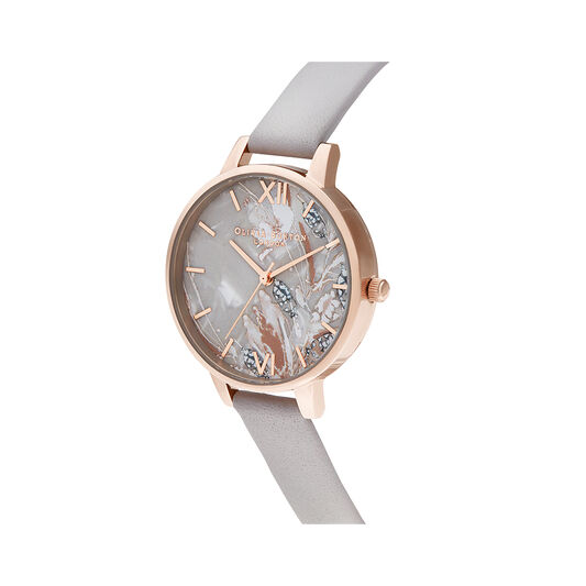 Abstract Florals Grey Lilac & Rose Gold Watch