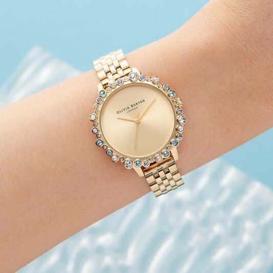 Limited Edition Bejewelled Case Watch, Gold Bracelet