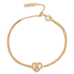 'M' Heart Initial Chain Bracelet Gold
