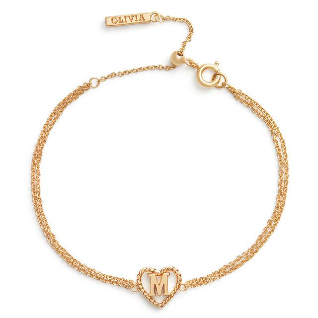 'M' Heart Initial Chain Bracelet Gold