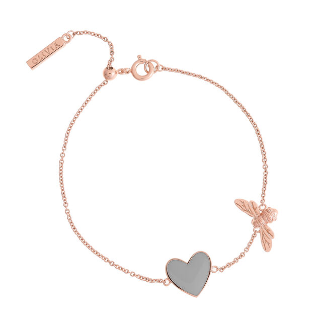 You Have My Heart Grey and Rose Gold Bee Chain Bracelet