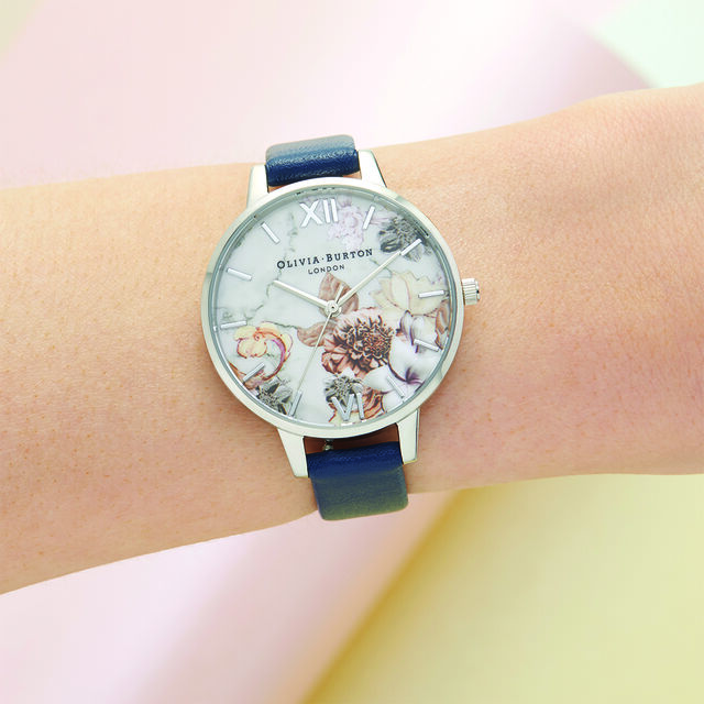 Marble Florals  Navy & Silver