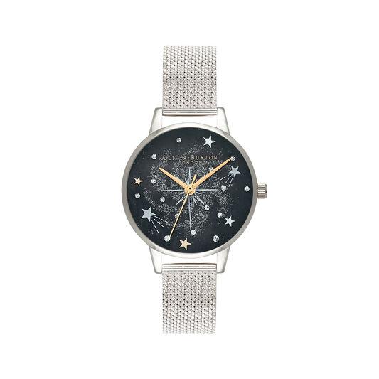 Celestial Midi Dial Silver Mesh Watch