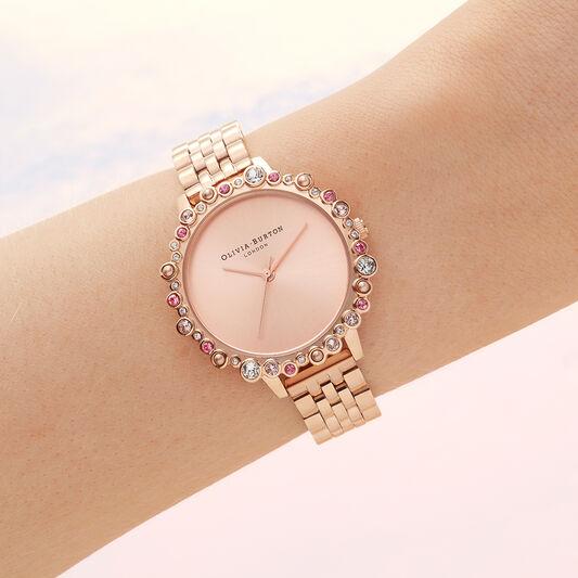 Limited Edition Bejewelled Case Watch, Rose Gold Bracelet
