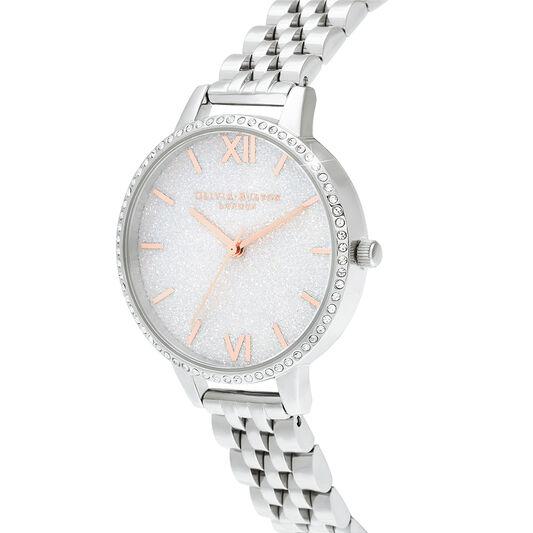White Demi Glitter Dial Sparkle Bezel Rose Gold & Silver Watch