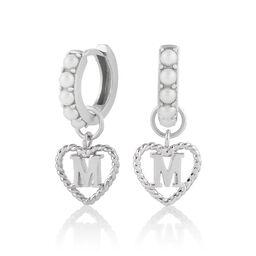 'M' Faux Pearl Heart Initial Huggie Hoop Silver