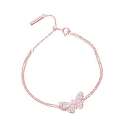 3D Sparkle Butterfly Rose Gold Chain Bracelet