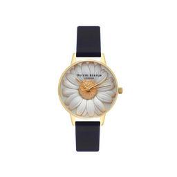 Olivia Burton 3D Daisy Black & Gold Watch