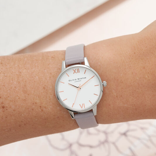 Midi Dial White Dial Grey Lilac Watch, Rose Gold & Silver
