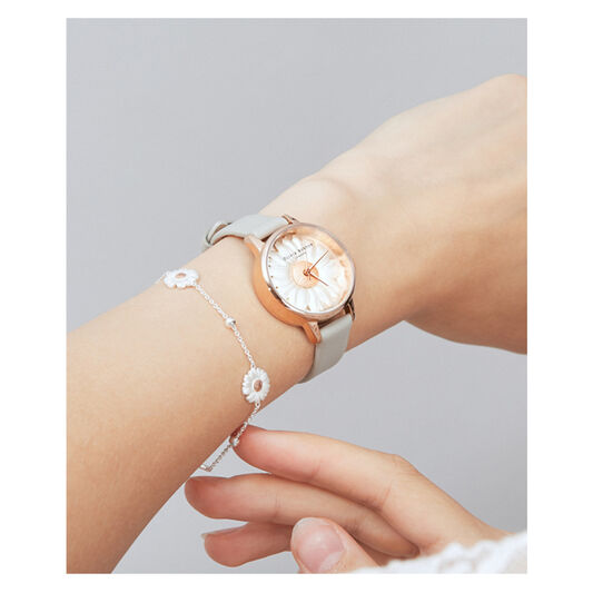 3D Daisy Grey & Rose Gold Watch