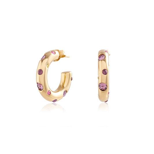 Jewel Tone Rainbow Gold Chunky Hoops