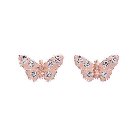 3D Sparkle Butterfly Rose Gold Studs