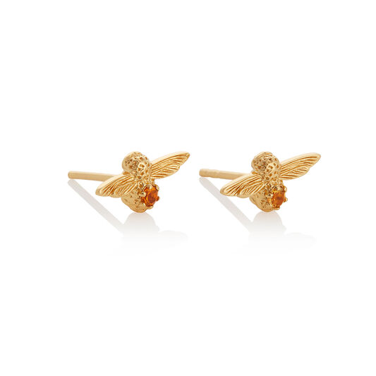 Celebration Bee Studs Gold & Citrine