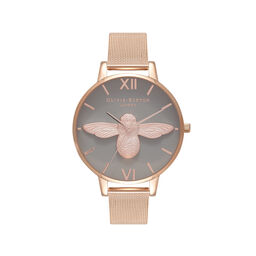 3D Bee Rose Gold Mesh Watch