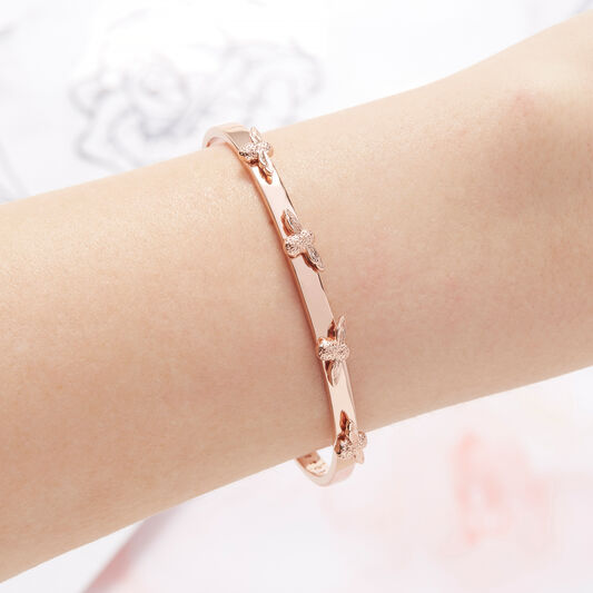3D Bee Bangle Rose Gold