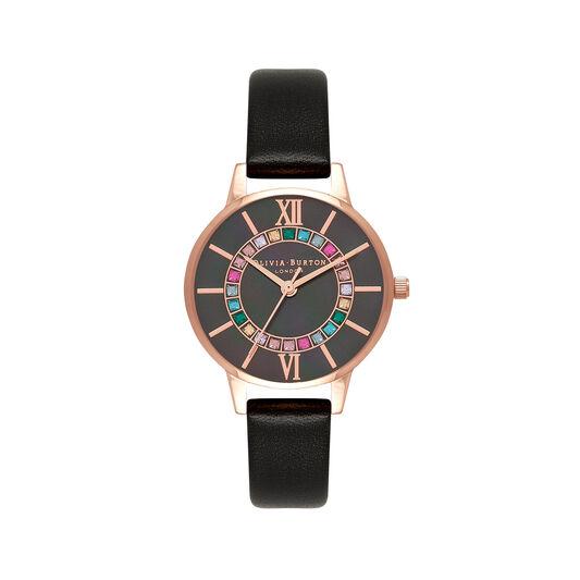 Wonderland Midi Dial Black & Rose Gold Watch