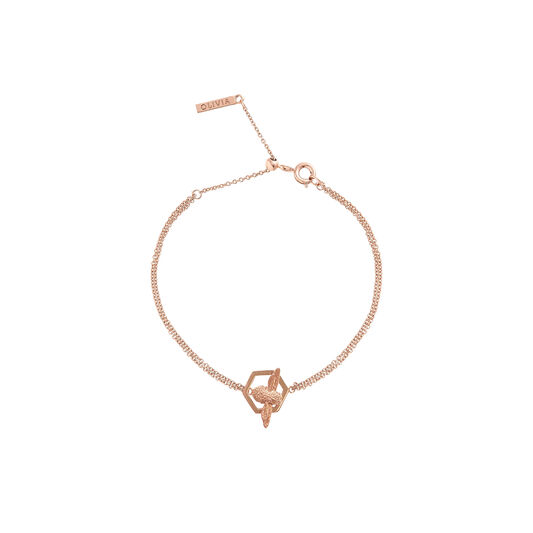 Honeycomb Bee Chain Bracelet Rose Gold