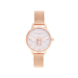 Glitter Dial Lucky Bee & Rose Gold Mesh