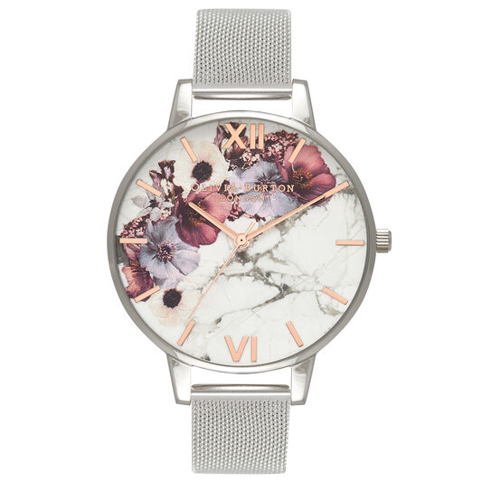 Olivia Burton Marble Floral Mesh, Rose Gold & Silver