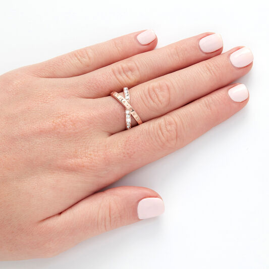 Bejewelled Interlink Ring Rose Gold (M)