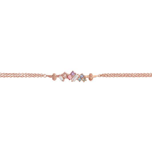 Rainbow Bee Chain Bracelet Rose Gold