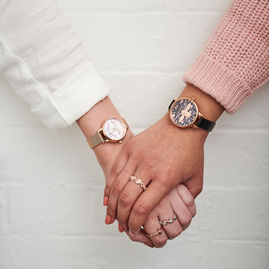 Olivia Burton Meant to Bee Blush, Silver & Rose Gold Mesh Watch