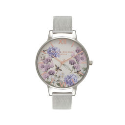 Parlour Bee Blooms Rose Gold & Silver Mesh Watch