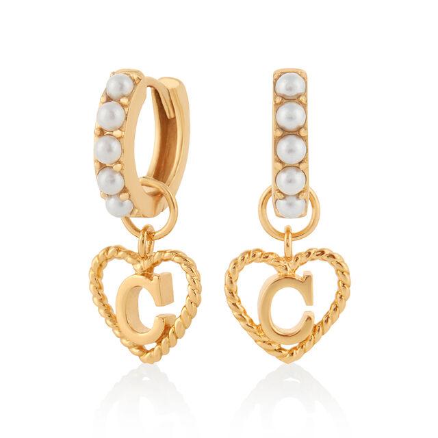'C' Faux Pearl Heart Initial Huggie Hoop Gold