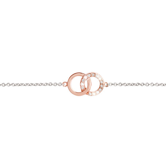 Bejewelled Interlink Chain Bracelet Rose Gold & Silver