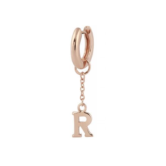 R Alphabet Huggie Charm Rose Gold