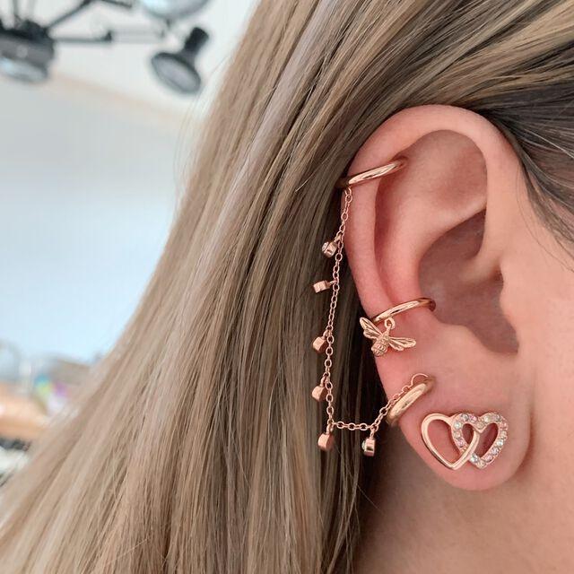 Rainbow Charm Rose Gold Chain Ear Cuff