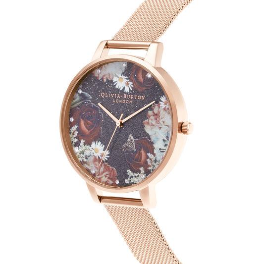 Winter Blooms Big Dial Rose Gold Mesh Watch