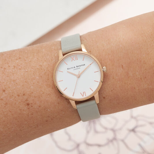 White Dial Grey & Rose Gold Watch