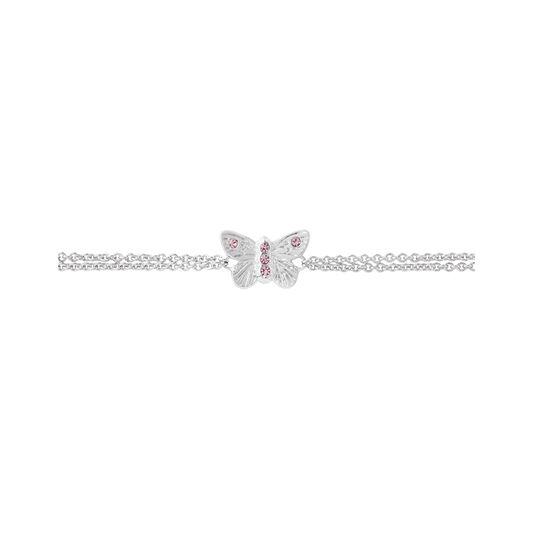 Bejewelled Butterfly Chain Bracelet Silver & Pink Stone