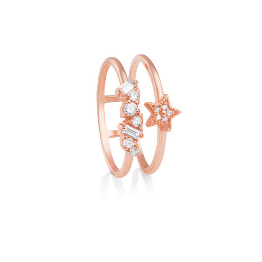 Celestial Double Band Ring Rose Gold S