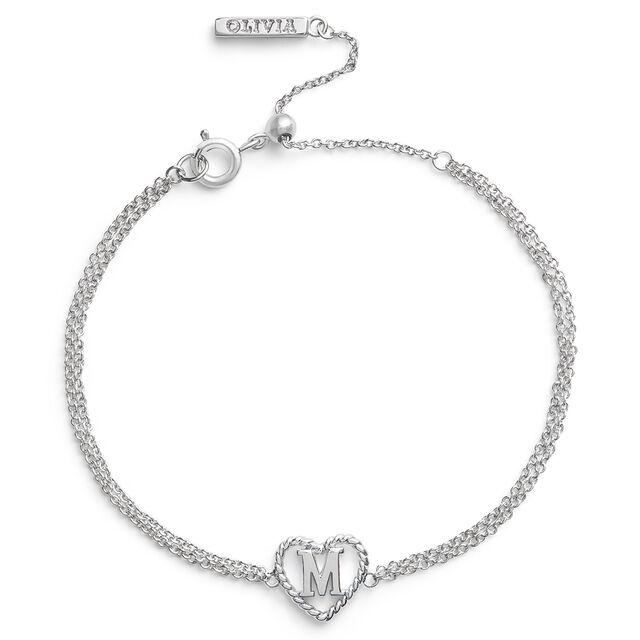 'M' Heart Initial Chain Bracelet Silver